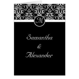 Black  Insignia Monogram Folded Wedding Invitation Greeting Card
