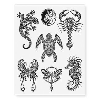 Black Intricate Tribal Animals Collection