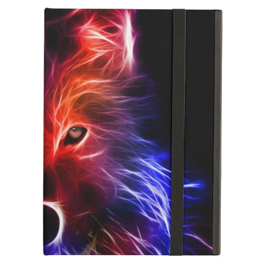 Black iPad Air Case with bright wolf