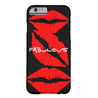 Black iPhone 6 case with Red Lips Barely There iPhone 6 Case