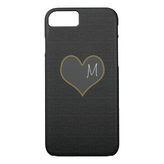 black iPhone 7 with a gray heart personalized iPhone 7 Case