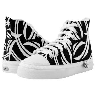 Black Iris High Top Printed Shoes