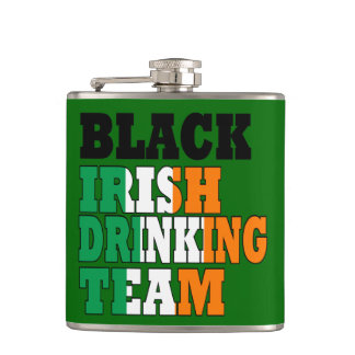 Black Irish drinking team Hip Flask