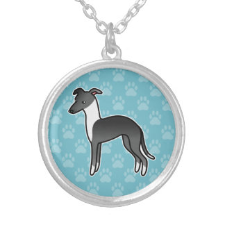 Black Irish Italian Greyhound Cartoon Dog Silver Plated Necklace