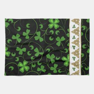 Black Irish Knotwork Tea Towel