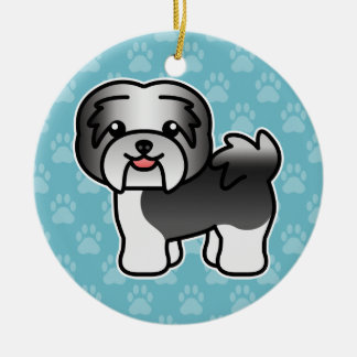Black Irish Pied Cartoon Havanese Christmas Ornament
