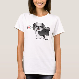 Black Irish Pied Cartoon Havanese Love T-Shirt