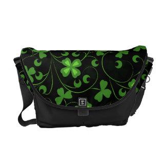 Black Irish Shamrocks Courier Bags