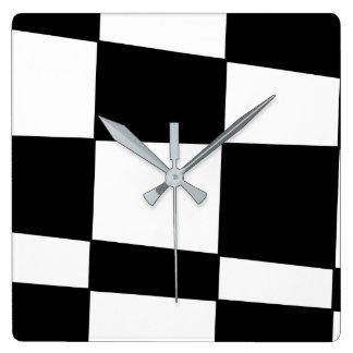 Black irregular chess square wall clock
