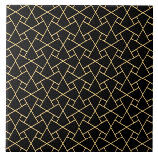 Black Islamic Mosaic Pattern Gold-effect Outlines Large Square Tile