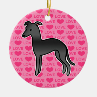 Black Italian Greyhound Love Christmas Ornament