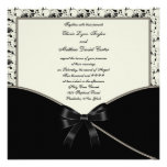 Black Ivory Cream Damask Wedding Personalised Invitations