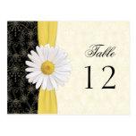 Black, Ivory, Gold, White Daisy Wedding Table Card