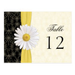 Black, Ivory, Gold, White Daisy Wedding Table Card Post Cards