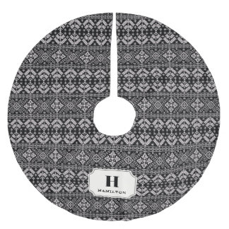 Black & Ivory Sweater Pattern Monogram Brushed Polyester Tree Skirt
