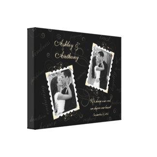 Black Ivory Wedding Photo Wrapped Canvas Print