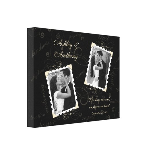Black Ivory Wedding Photo Wrapped Canvas Print