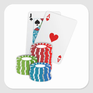 Black Jack Cards With Poker Chips Square Sticker
