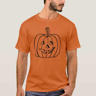 Black Jack-O-Lantern Pumpkin Outline on Orange T-Shirt