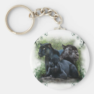 Black Jaguar Basic Round Button Key Ring