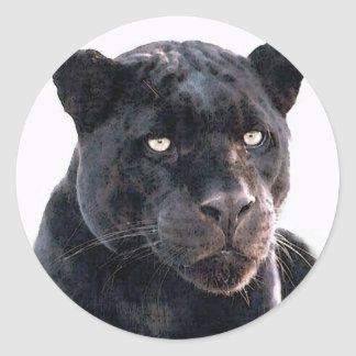 Black Jaguar Classic Round Sticker