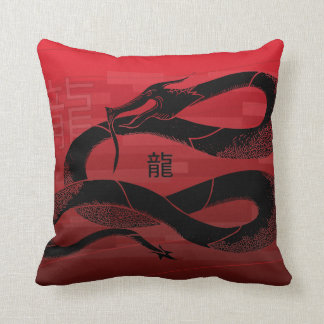 Black Japanese Dragon Red Background Cushion