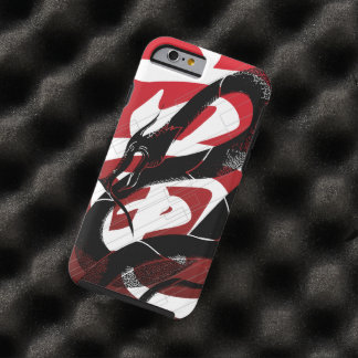 Black Japanese Dragon Red Background Tough iPhone 6 Case