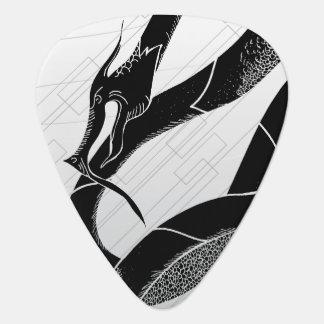 Black Japanese Dragon White Background Plectrum
