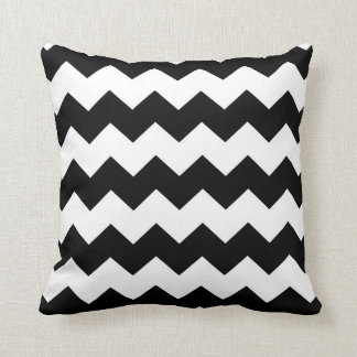 Black / Jet Black Chevron Pattern Cushion