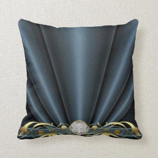 Black Jeweled Scroll Pillow