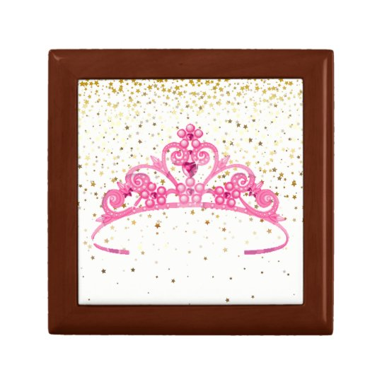 Black Jewellery Pink Tiara Golden Stars Gift Box