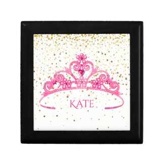 Black Jewelry Pink Tiara Golden Stars Personalized Gift Box