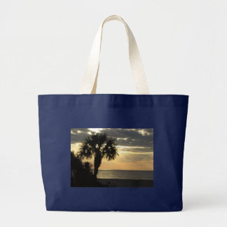 Black Jumbo Tote With Palm