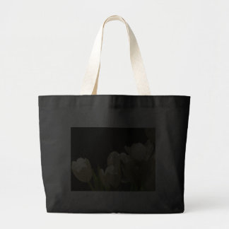 Black Jumbo Tote with White Tulips Tote Bags