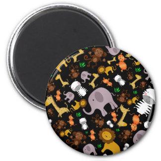 Black jungle safari animals refrigerator magnets