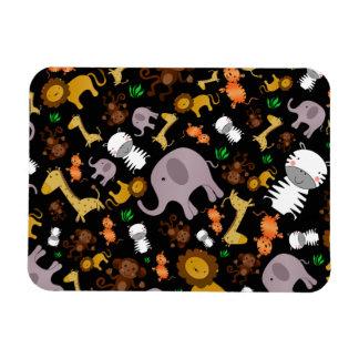 Black jungle safari animals magnets