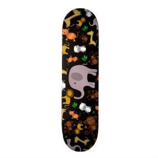 Black jungle safari animals skateboard decks