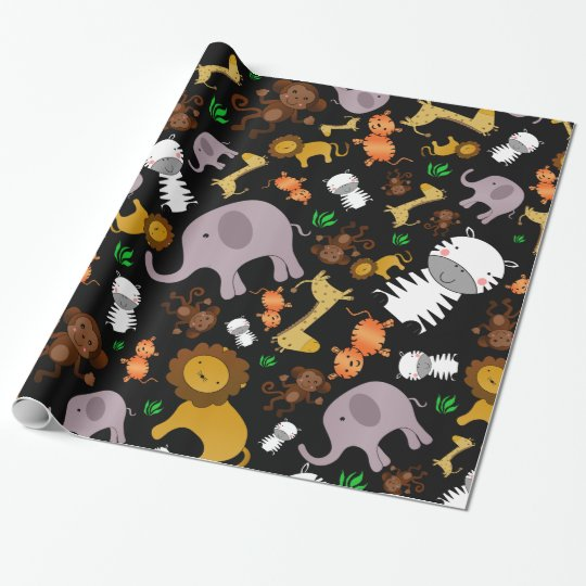 Black jungle safari animals wrapping paper