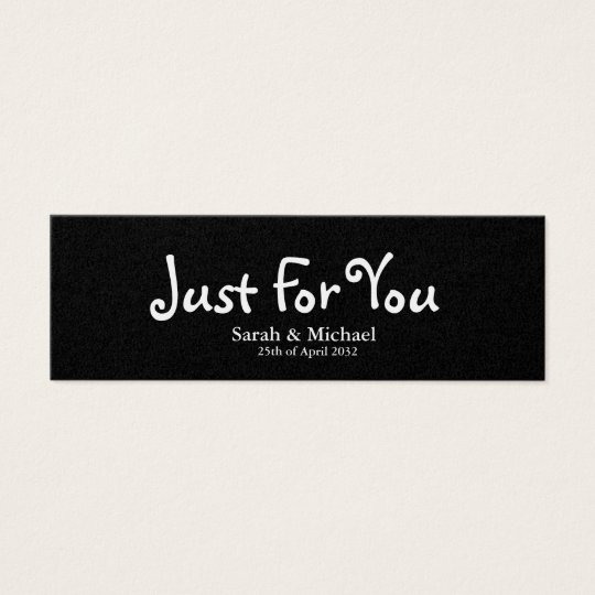 Black 'Just For You' Wedding favour Gift tag