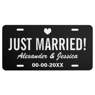Black Just married license plate for wedding car