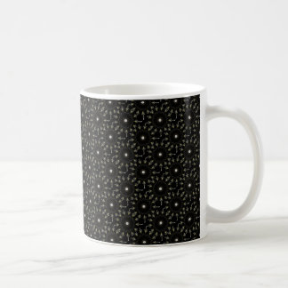 Black kaleidoscope pattern coffee mug