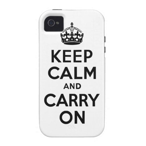 Black Keep Calm and Carry On Case-Mate Case Case-Mate iPhone 4 Covers