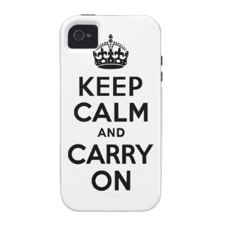 Black Keep Calm and Carry On Case-Mate Case iPhone 4/4S Covers