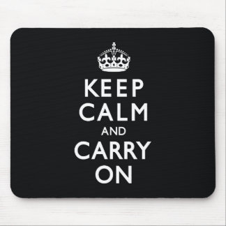 Black Keep Calm and Carry On Mouse Mat