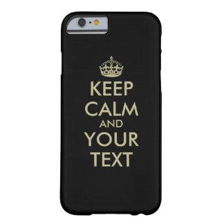 Black Keep calm iPhone 6 case Faux gold letters