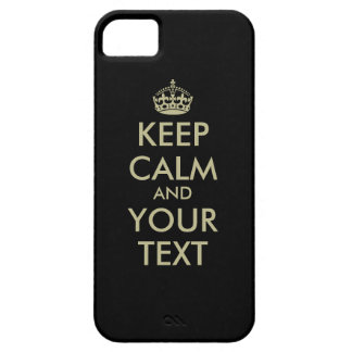 Black Keep calm iPhone case | Faux gold letters