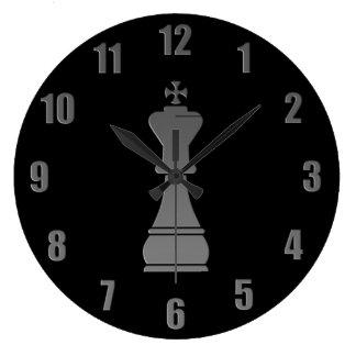 Black king chess piece large clock