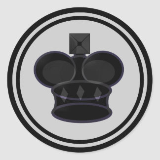 Black King Chess Piece Round Sticker