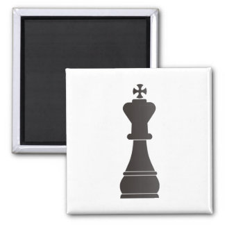 Black king chess piece square magnet