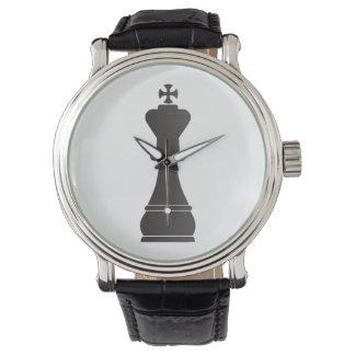 Black king chess piece watch